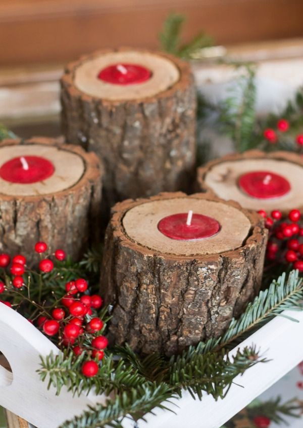 Rustic Wood Candle Holders