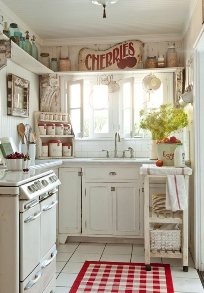 Shabby-Chic Style Small Kitchen Design