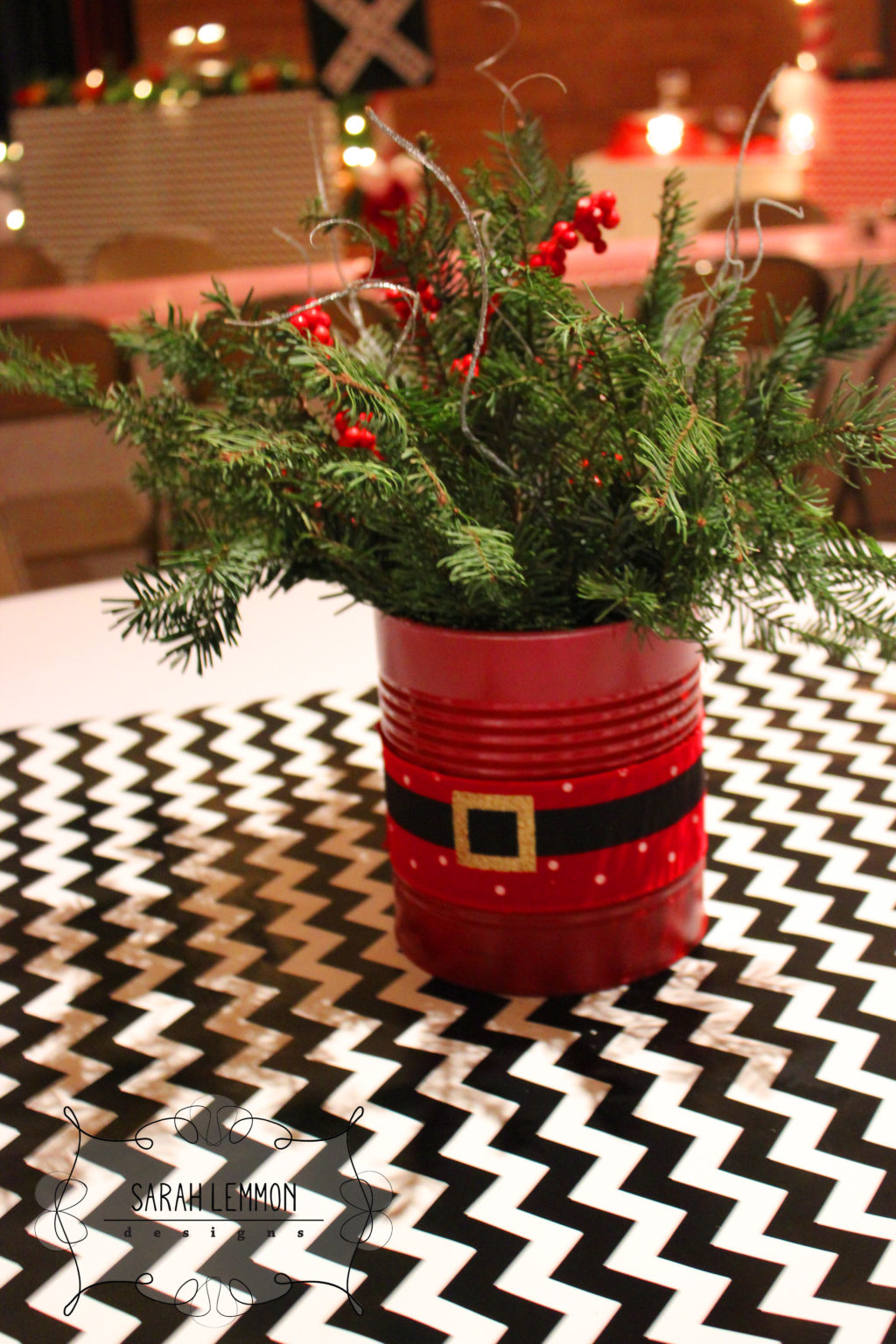 Spray Painted Red Christmas Centerpiece