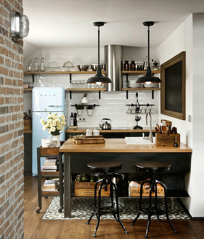 Trendy Reto Style Small Kitchen