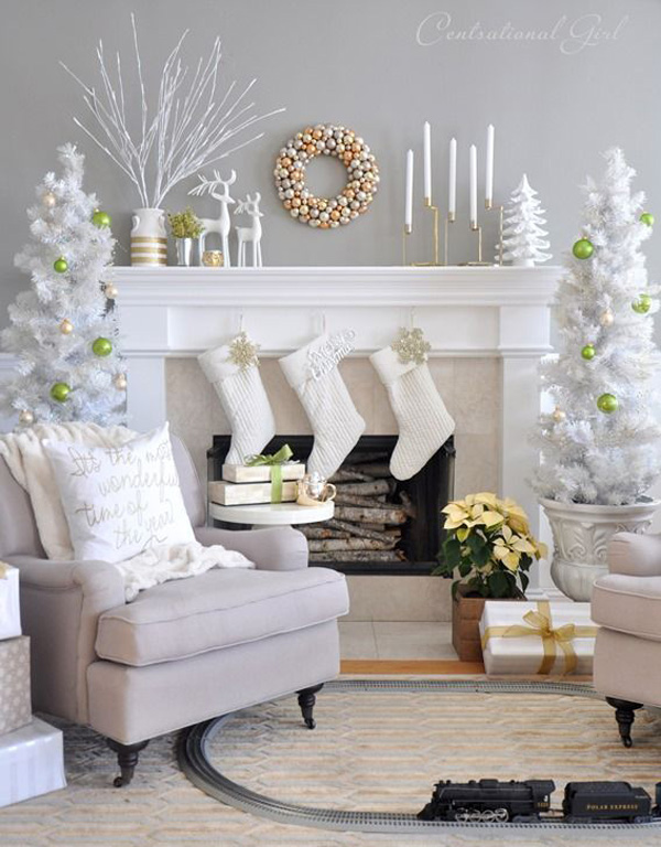 All White Fireplace Christmas Decoration Dwellingdecor