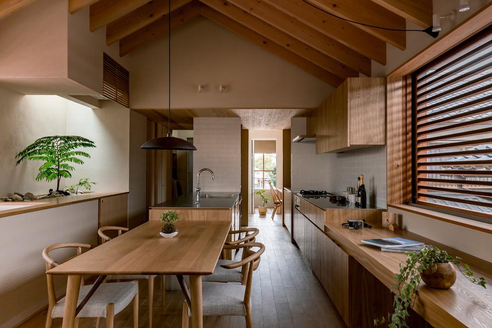 Asian Dark Wood Floor Open Concept Kitchen Dwellingdecor