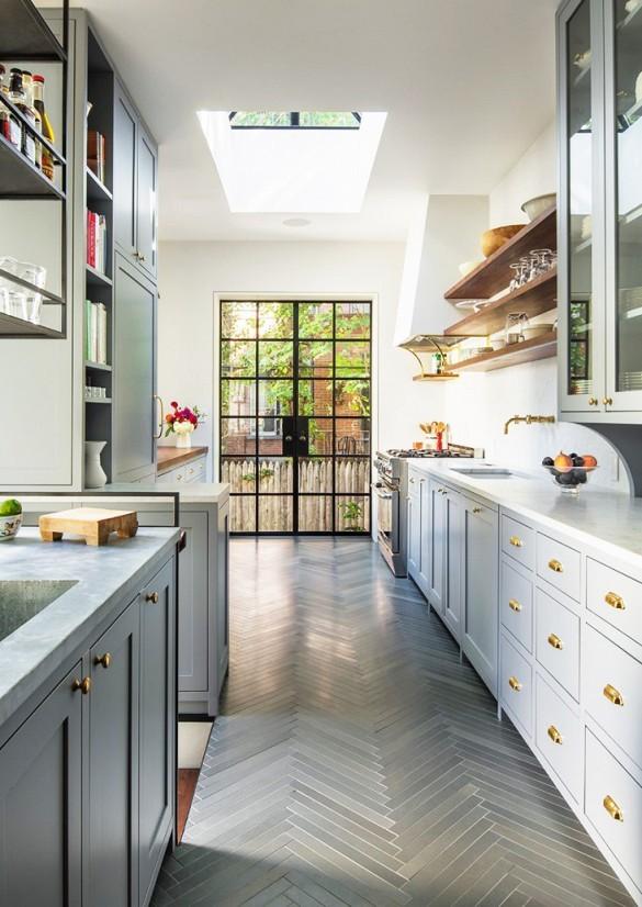 Classic Herringbone Pattern Kitchen Dwellingdecor