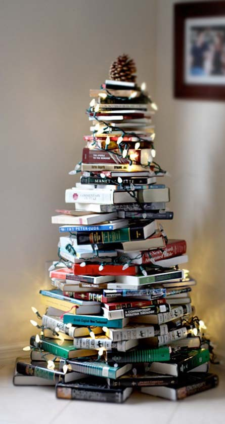 DIY Christmas Tree Made of Books Dwellingdecor