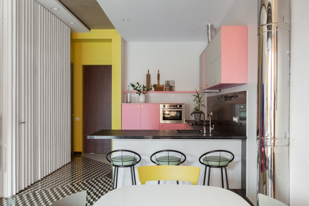 Eclectic U-shaped Multicolored Floor Open Concept Kitchen