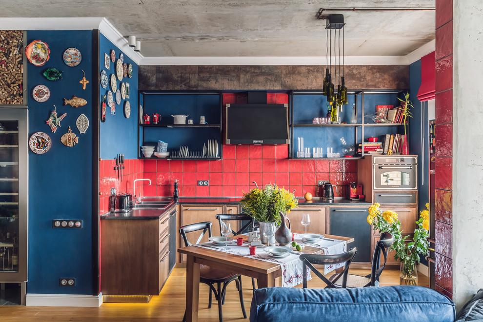 Industrial L-shaped Wood Floor Open Concept Kitchen Dwellingdecor