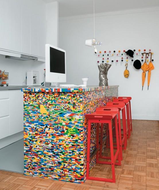 Kitchen With Unique Island Dwellingdecor