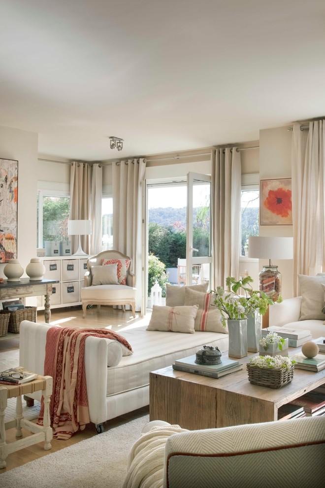 Large Shabby-Chic Style Living Room Dwellingdecor
