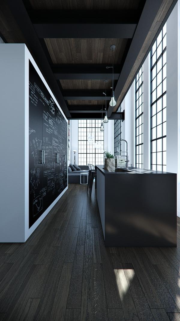 Loft Kitchen With Black Chalkboard Design Dwellingdecor
