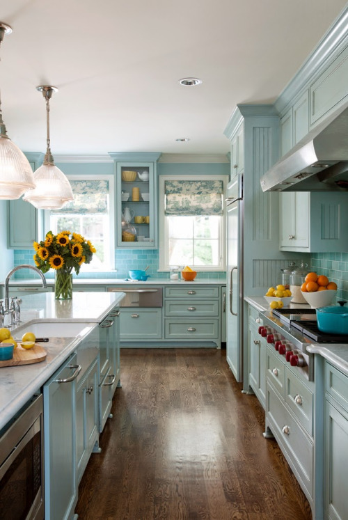 Pastel Beach Style Kitchen Design dwellingdecor