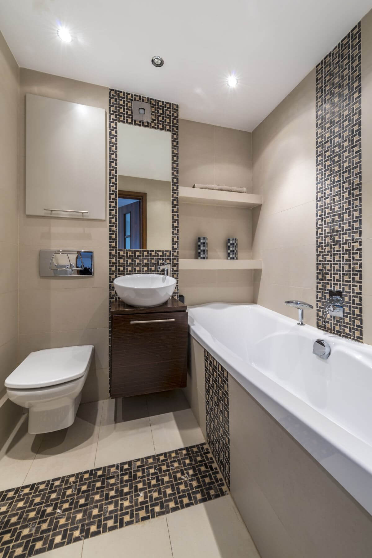 Repeated Tile Pattern Small Bathroom
