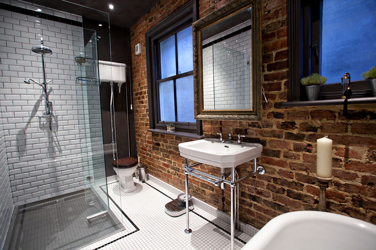 Small Industrial Chic Bathroom Design