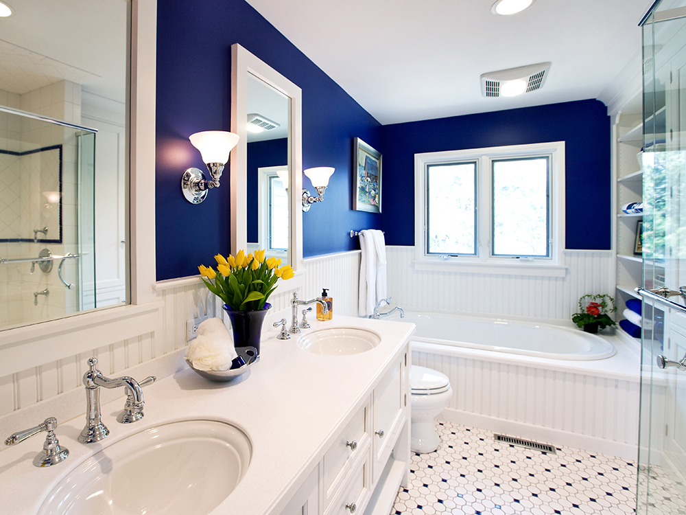 Small Sophisticated Bright Bathroom Design