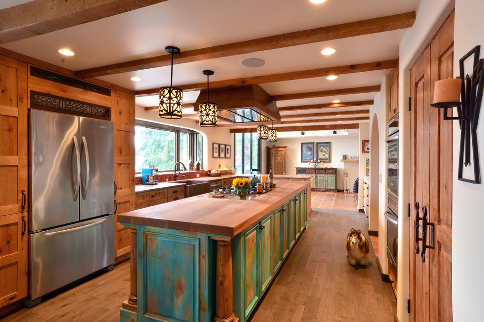 Southwestern Kitchen With Color Rubbed Island Dwellingdecor