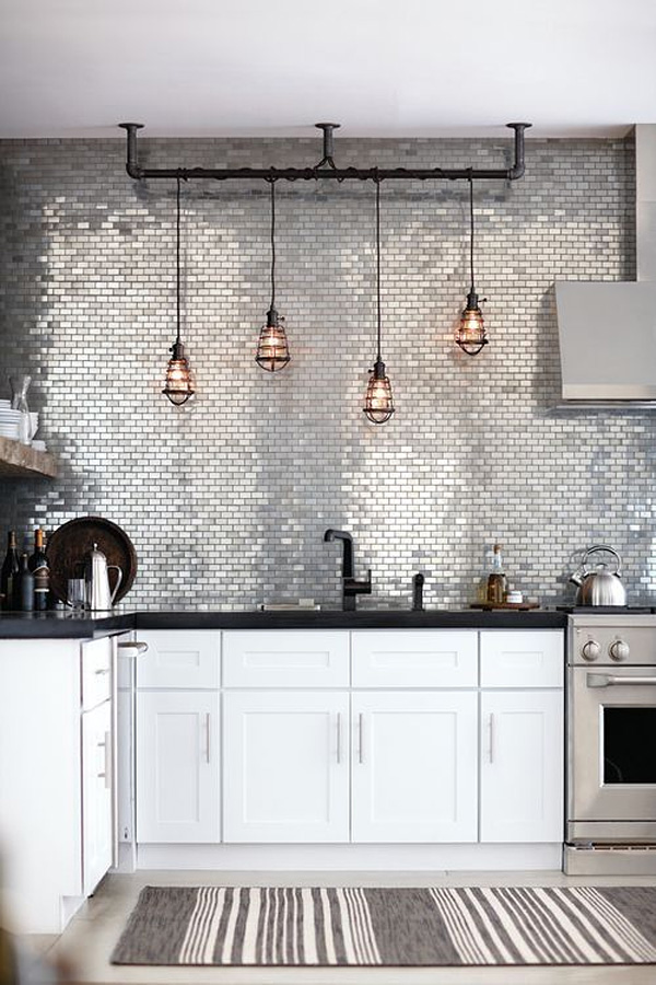 Spectacular Kitchen With Subway Tile & Industrial Pendant Lights Dwellingdecor