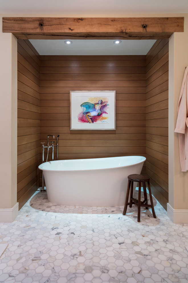 Transitional Bathroom With Freestanding Bathtub
