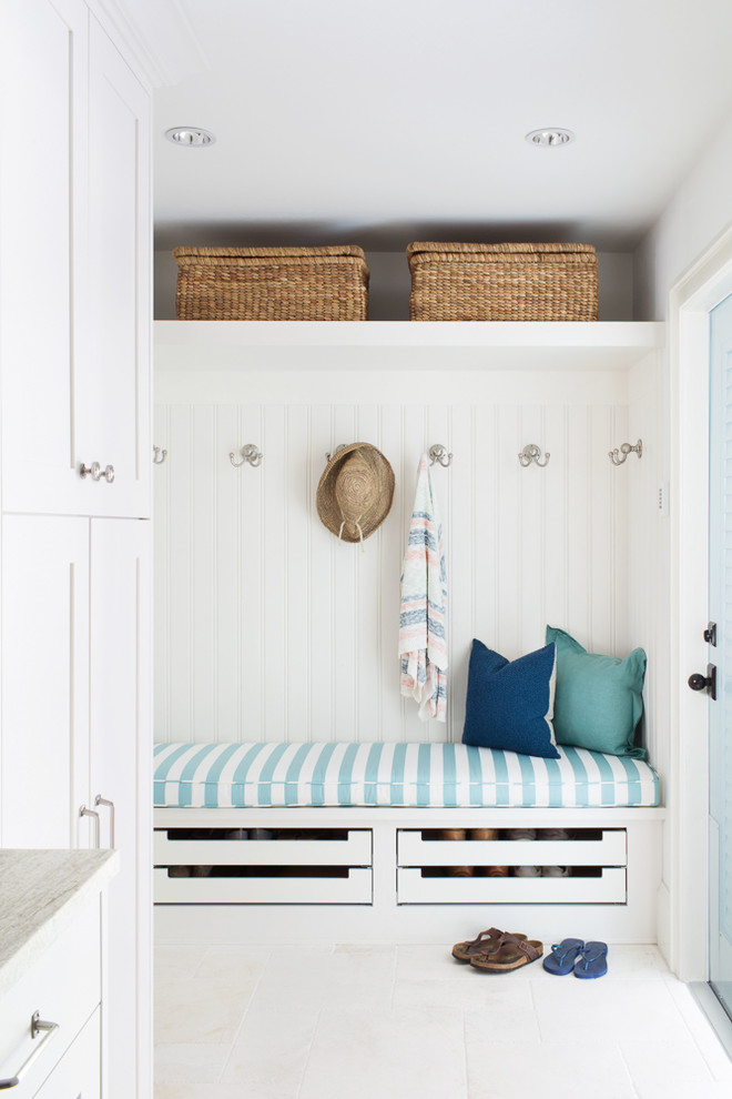 Beach Style Marble Floor And White Floor Mudroom
