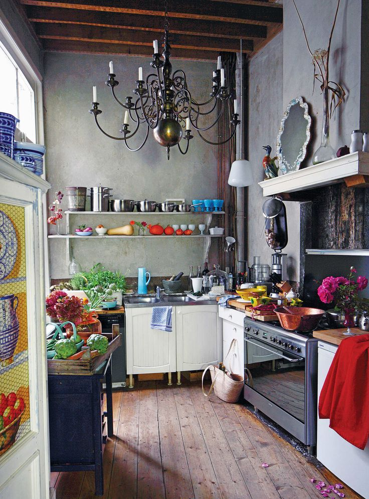 Bohemian kitchen and Eclectic shelving Dwellingdecor