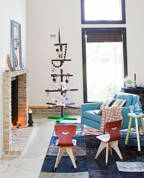Christmas Tree Made Of Logs And Planks dwellingdecor