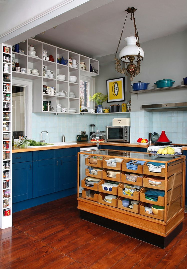 Eclectic Kitchen With Repurposed kitchen island Dwellingdecor