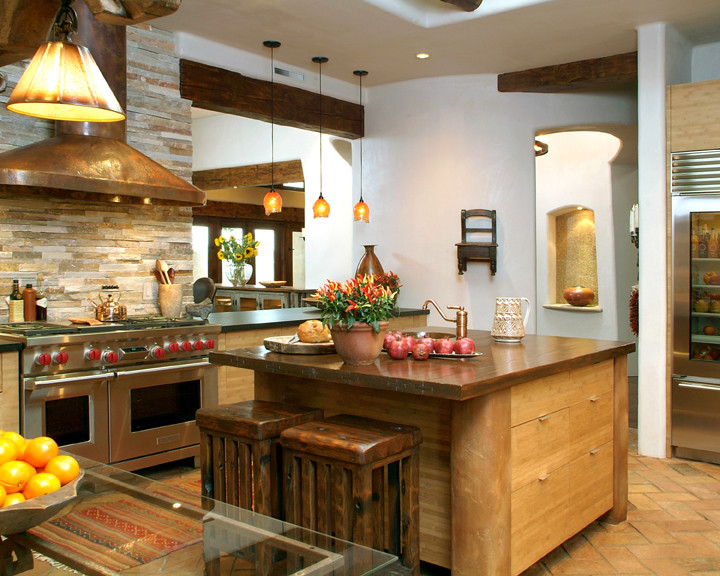Eclectic Kitchen With Stacked Stone Backsplash Dwellingdecor