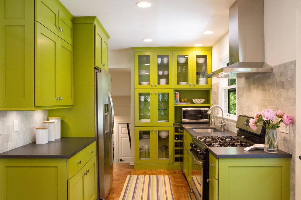 Galley Medium Tone Wood Floor Eat-in Kitchen