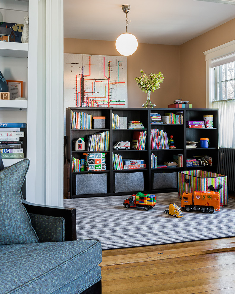 Mid-sized Victorian Medium Tone Wood Floor Kids Room
