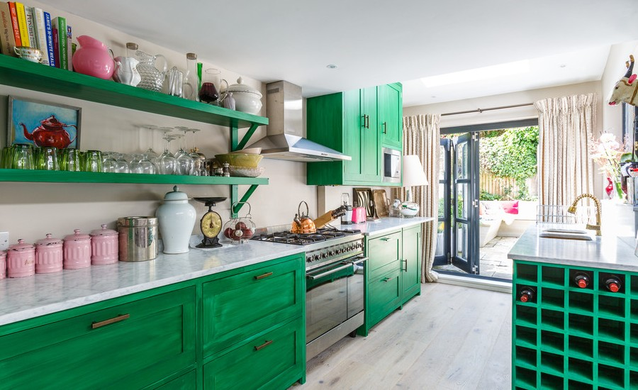 Open Concept Kitchen With Green Painted Cabinets Dwellingdecor