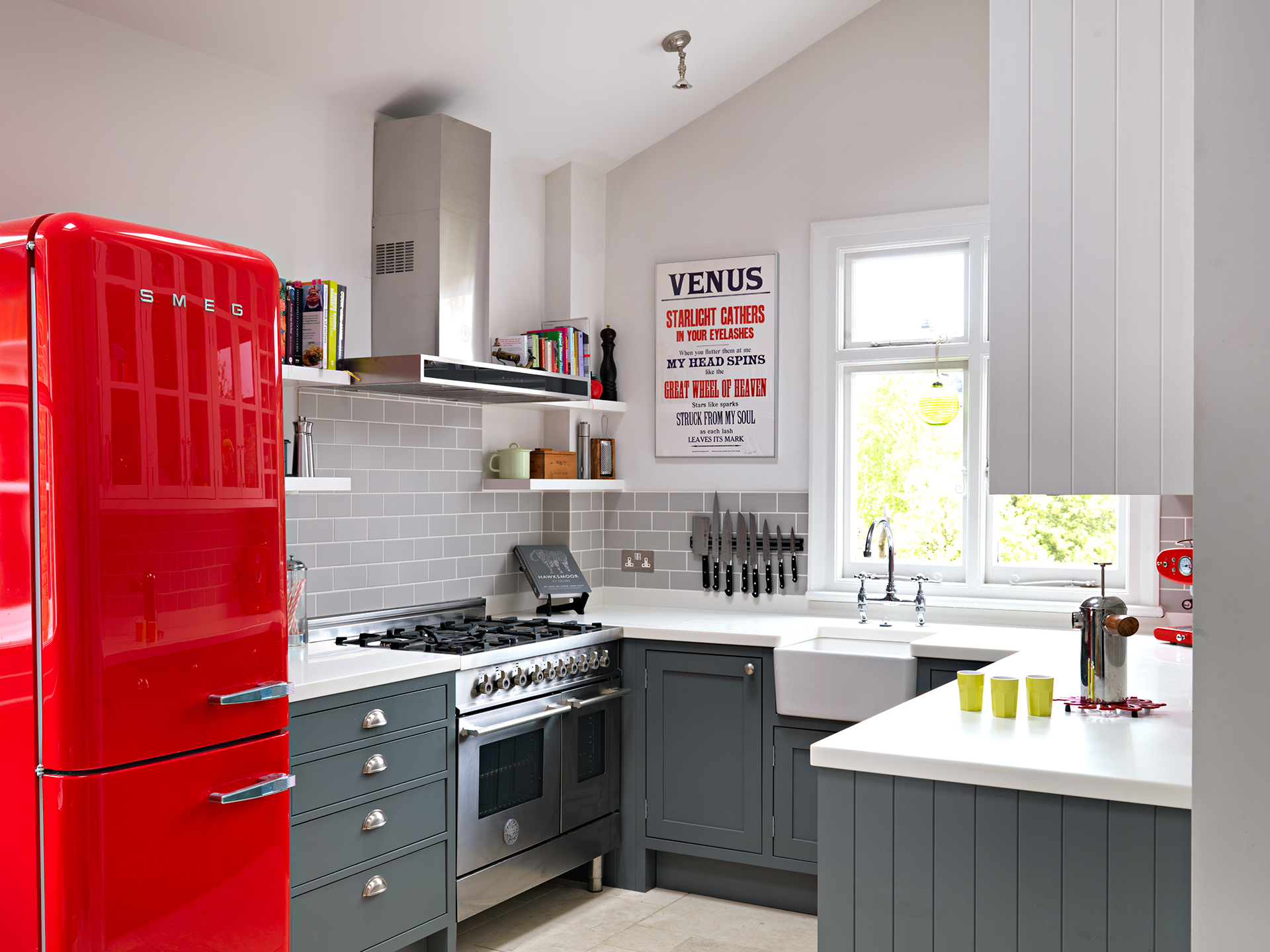 SMall Kitchen With Cherry Red Fridge Dwellingdecor