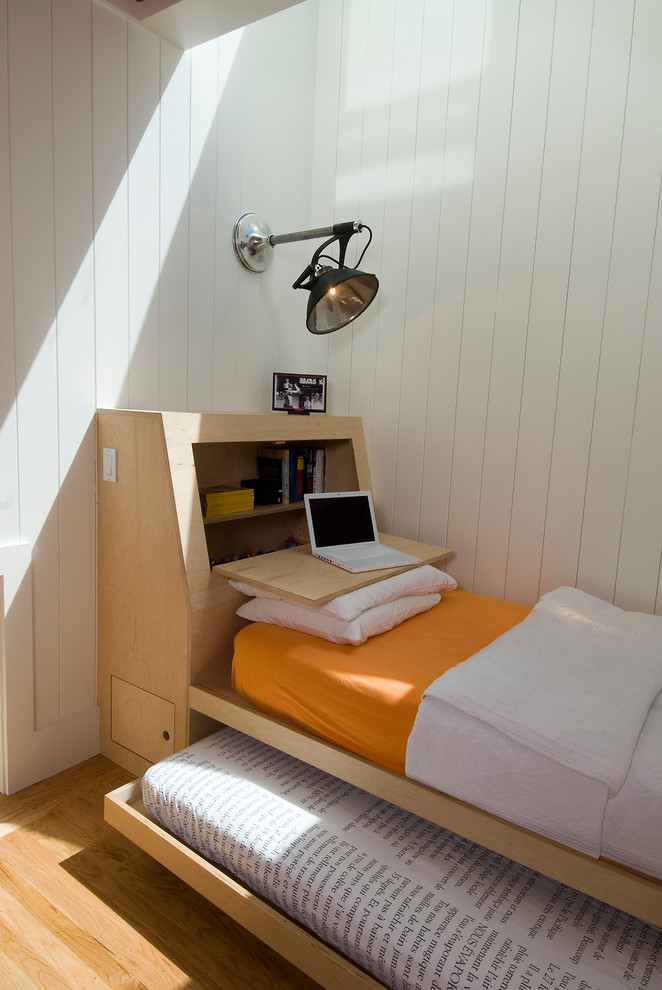 Scandinavian Guest Bedroom With Space Saving Wooden Bed
