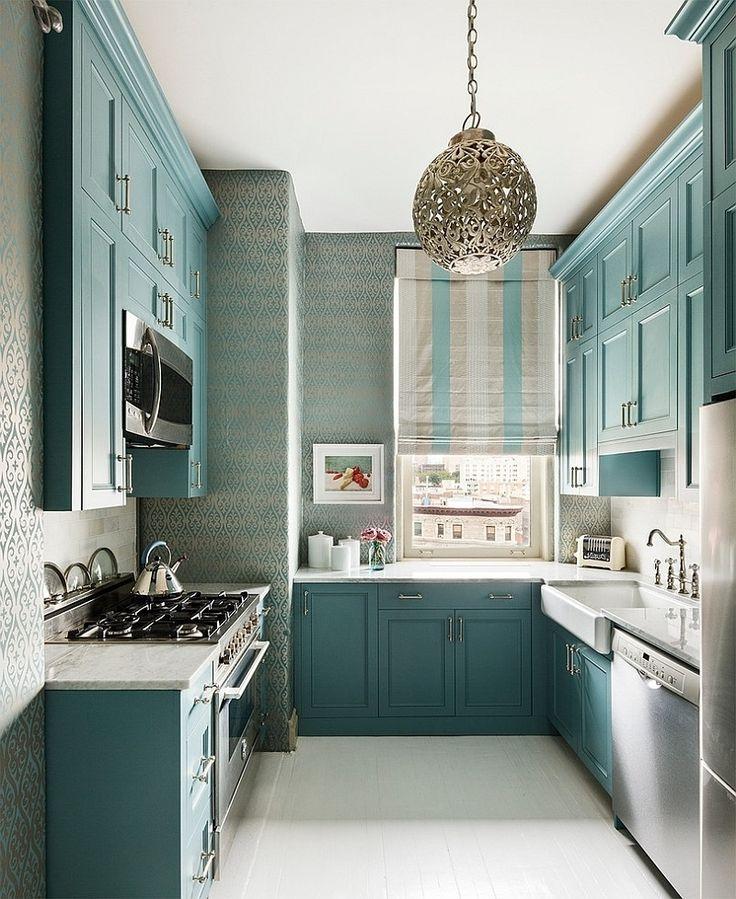 Sky blue Small Kitchen Design Dwellingdecor