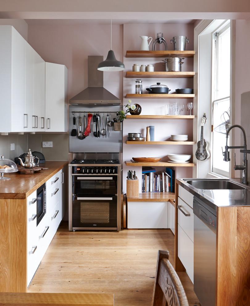 Small Contemporary Medium Tone Wood Floor Kitchen Dwellingdecor