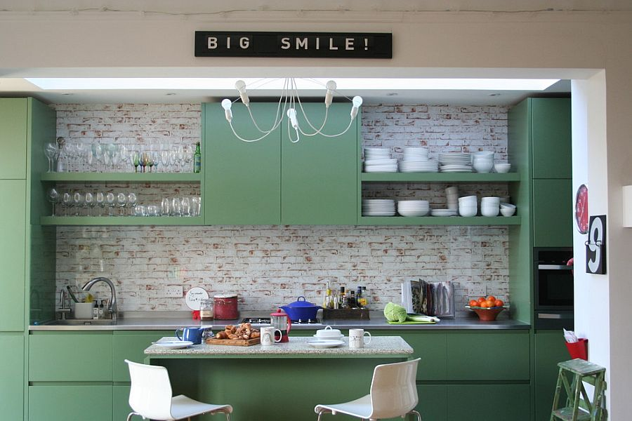 Small Eclectic Kitchen With Painted cabinets in Fired Earth Zangar Green