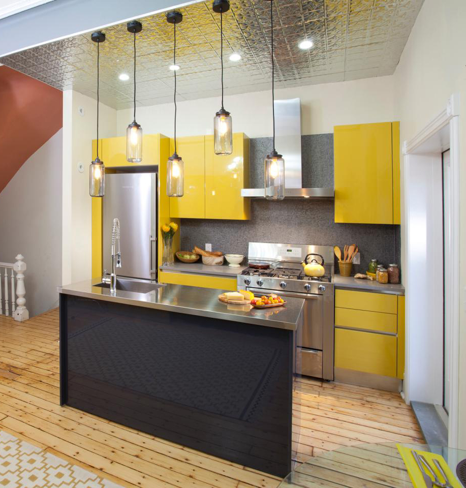 Small I Shaped Kitchen With Yellow Cabinets