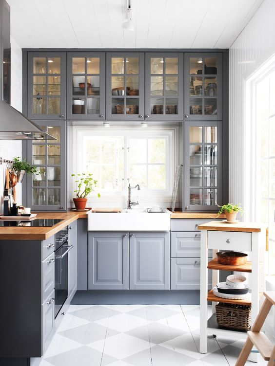 Small Kitchen With Grey Cabinets & White Countertop dwellingdecor
