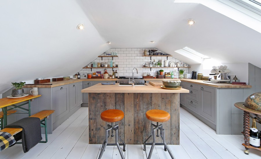 Small Kitchen With Reclaimed Wood Base And Concrete Top