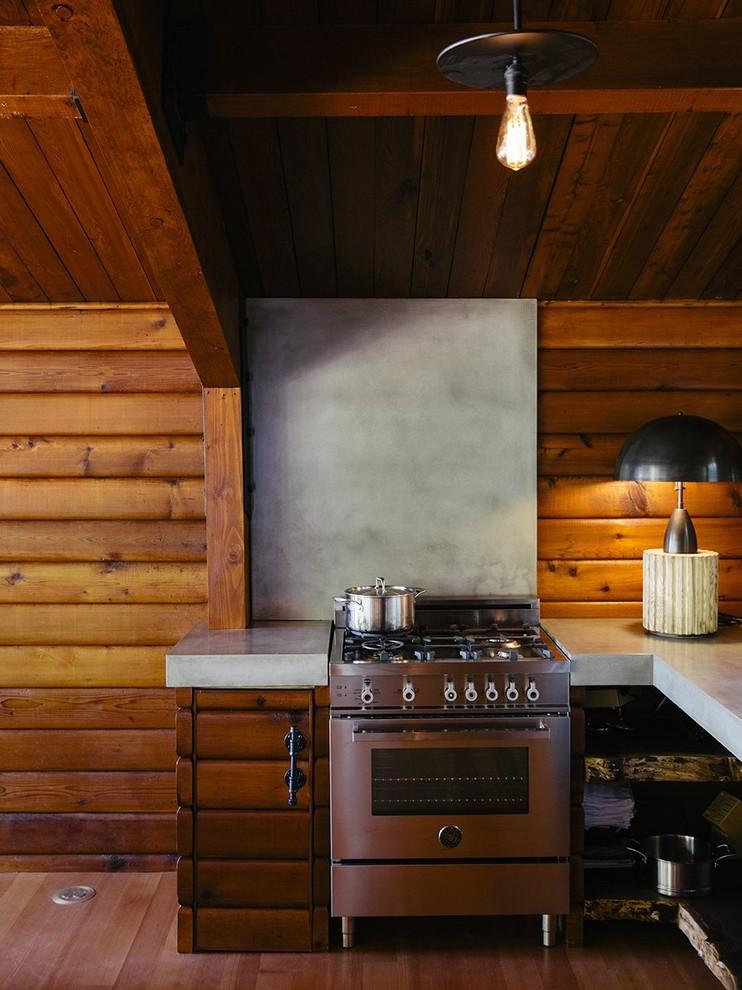 Small Rustic L-shaped Light Wood Floor Kitchen Dwellingdecor