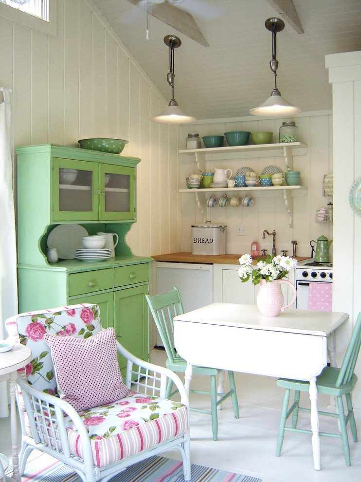 Small Shabby-chic Style Single-wall Painted Open Concept Kitchen