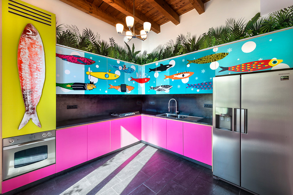 Unique Colorful Eclectic Kitchen With Fish Theme Cabinets Dwellingdecor