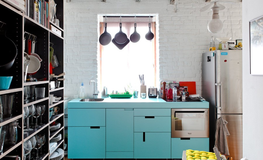 Urban Single-wall Kitchen Photo With Blue Cabinets