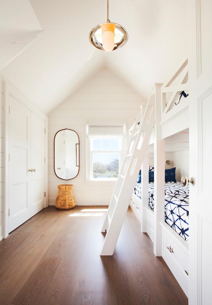 Coastal Style Neutral Dark wood floor kids bedroom dwellingdecor