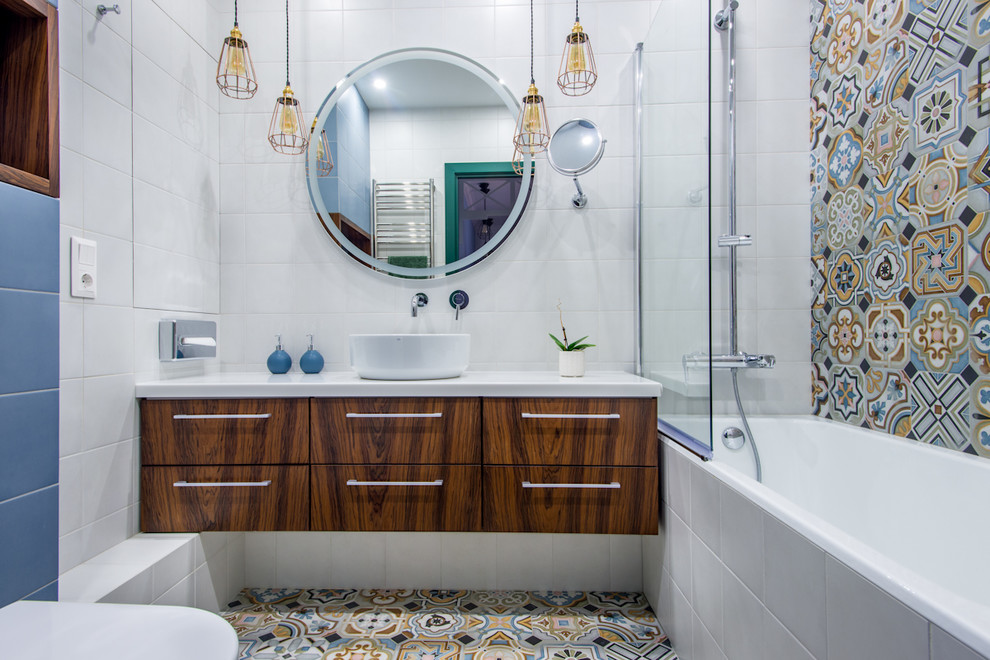 Contemporary Multicolored Bathroom With Alcove Bathtub dwellingdecor