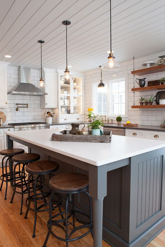 Farmhouse Kitchen Island Painted in Gray Dwellingdecor