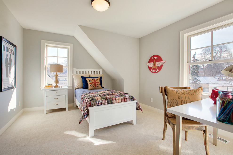 Farmhouse Style Boy Bedroom With Beige Color carpet Dwellingdecor