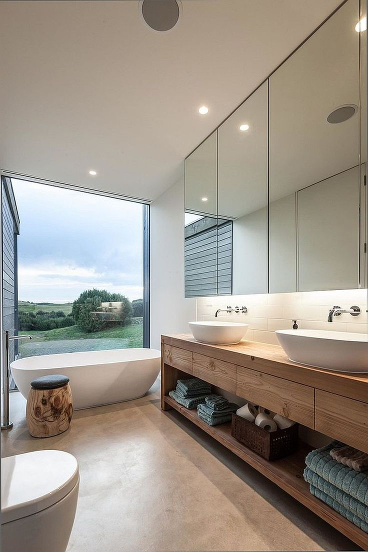 Grey modern bathroom with Bathtub & Urban Vanity dwellingdecor