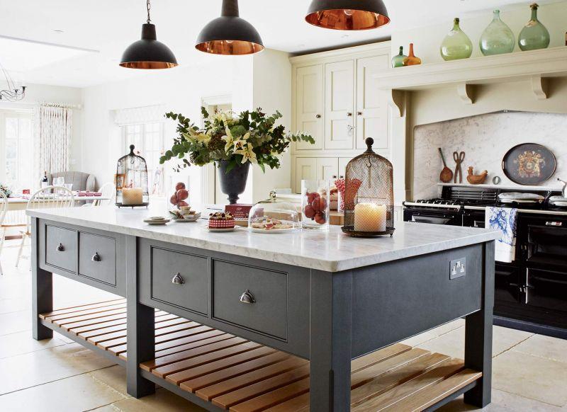 Kitchen With Large Island & Pendant LIghts dwellingdecor