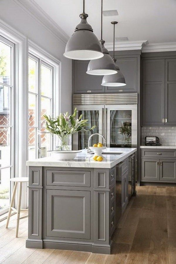 Open Concept Kitchen With Gray Painted Cabinets dwellingdecor
