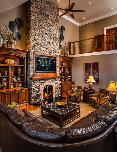 Rustic Living Rooms With Charming Stone Fireplace dwellingdecor