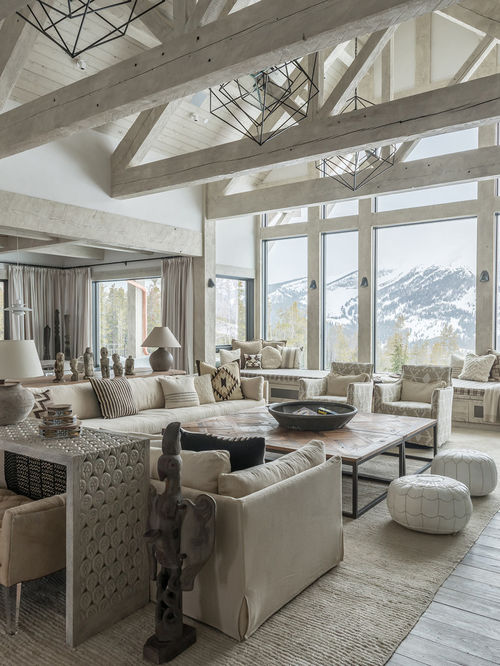 Rustic Open concept gray floor living room