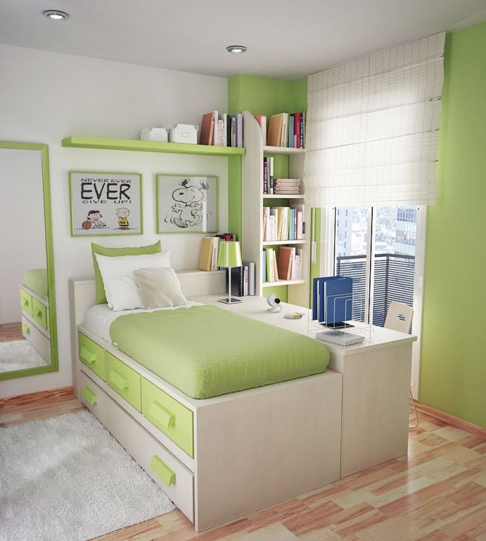 Small Teen Bedroom Design With Green Wall Color dwellingdecor
